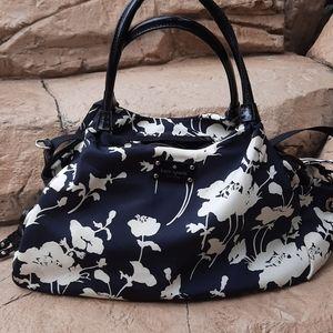 Kate Spade black white floral diaper overnight bag